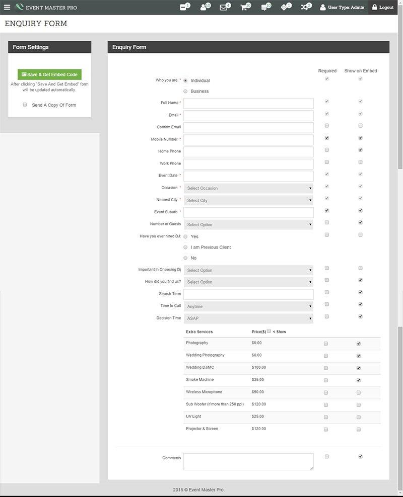 enquiry-form-settings